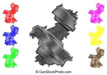 Saarpfalz district (Federal Republic of Germany, State of Saarland, Rural district) map vector illustration, scribble sketch Saarpfalz Kreis map