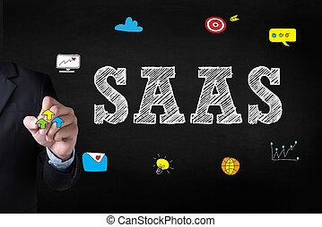 SAAS Businessman drawing Landing Page on blackground