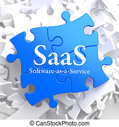 SAAS. Puzzle Information Technology Concept. - SAAS -...