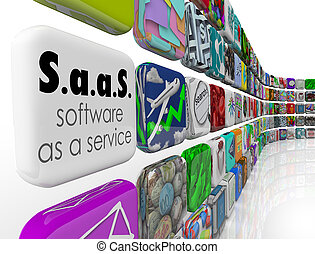 Saas Software as a Service words on an application or...