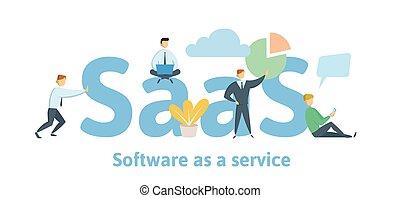 saas, software, como, un, service., nube, software, en, computadoras, móvil, dispositivos, códigos, app, servidor, y, database., vector, ilustración, en, plano, estilo, aislado, blanco, fondo.