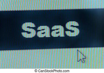 SaaS word - Cloud computing concept - SaaS word and cursor...