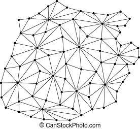 Saba map of polygonal mosaic lines network, rays and dots vector illustration.