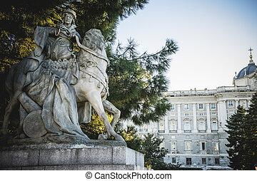 sabatini, jardines, en, el, palacio real, en, madrid,...