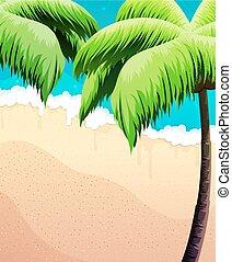 sabbia, albero, palma, mare