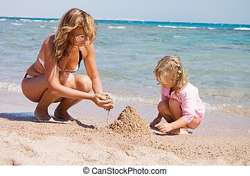sabbia, bambino, spiaggia, gioco, madre