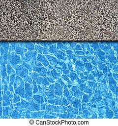 sabbia bianca, pietra, marciapiede, con, stagno, bordo,...