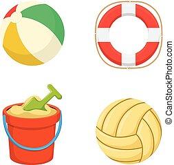 sabbia, bucket., lifebuoy., balls.