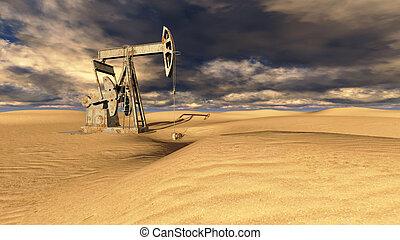 sabbia, campo petrolifero