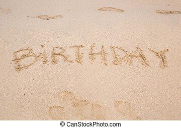 sabbia, compleanno, spiaggia, scritto