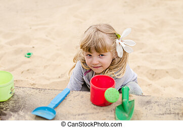 sabbia, gioco, bambino
