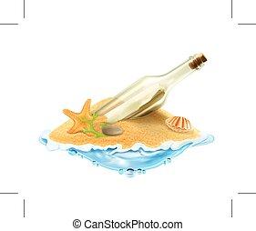 sabbia, lettera, bottiglia