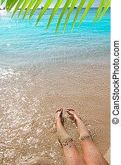 sabbia, riva, ragazza, gambe, spiaggia, bambini
