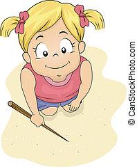 sabbia, scrittura