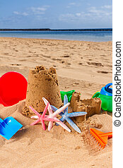 sabbia, spiaggia, castello