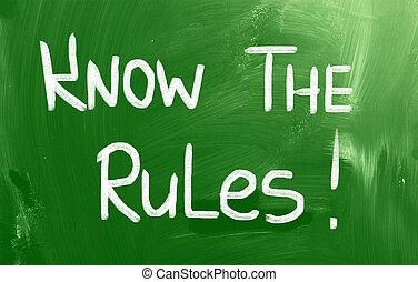 saber, a, regras, conceito