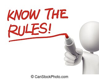 saber, el, reglas, palabras, escrito, por, 3d, hombre