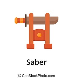 Saber flat vector illustration. Single object. Icon for ...