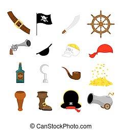 saber., jogo, olho, rum., leg., madeira, piratical, ilustração, remendo, bandeira, vetorial, cranio, cannon., icon., pistola, chapéu, pirata, helm.