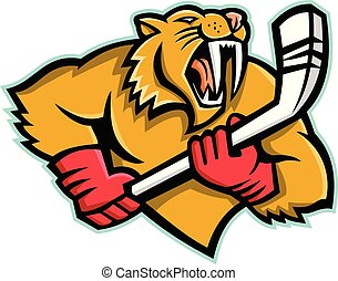 saber-tooth-cat-ice-hockey-MASCOT - Mascot icon illustration...