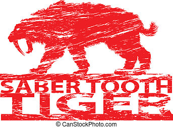 Saber tooth tiger. - Saber tooth tiger in grunge effect.