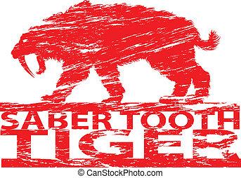 Saber tooth tiger. - Saber tooth tiger in grunge effect.