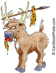 saber toothed elk - A prehistoric elk or deer beast with a...