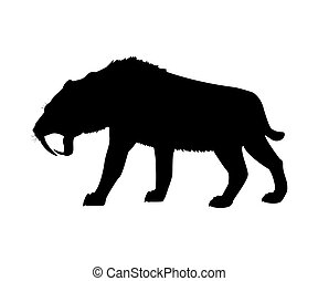 Saber toothed tiger silhouette extinct mammalian animal....