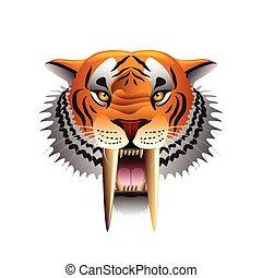 saber-toothed, tigre, cara, aislado, blanco, vector
