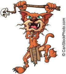 saber-toothed, tigre, -, chamán, ataques, con, un, palo, en, su, paws., vector, ilustración, con, simple, gradients.