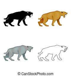 saber-toothed, tigre, icono, en, caricatura, estilo, aislado, blanco, fondo., edad piedra, símbolo, acción, vector, illustration.