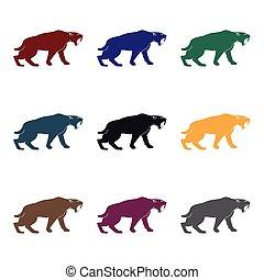 saber-toothed, tigre, icono, en, negro, estilo, aislado, blanco, fondo., edad piedra, símbolo, acción, vector, illustration.