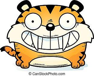 saber-toothed, tigre, sonriente