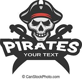 sabers, cruzado, pirata, cranio, emblem.