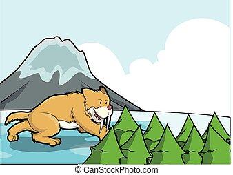 sabertooth, cena, gelo, montanha