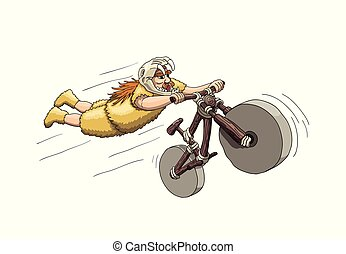 sabertooth, cranio, freeriding, era., primário, capacete, biker, bicicleta, fazer, stunt, montanha, declive, super-homem