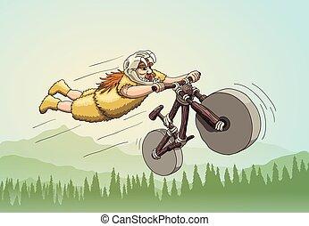 sabertooth, cranio, freeriding, era., primário, capacete, biker, bicicleta, fundo, fazer, stunt, montanha, declive, super-homem