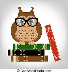 sabio, búho, con, books.