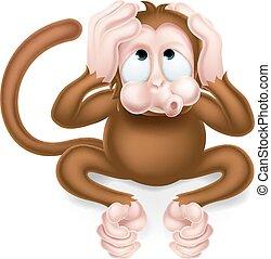 sabio, mono, no, mal, oír, caricatura