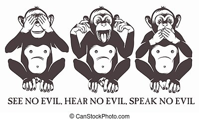 sabio, monos, tres