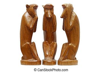 sabio, no, monkeys., tres, mal, ver, oír, evil., mal, hablar