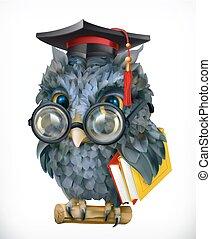 sabio, owl., caricatura, carácter, mascot., 3d, vector, icono