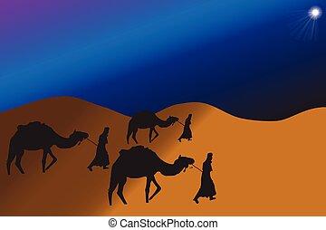 sabio, reyes, camellos, guiado, viajar, estrella, belén