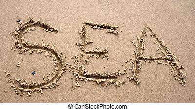 sable, écriture, -, mer