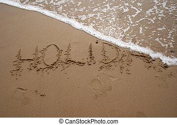 sable, écriture, -, vacances, 2