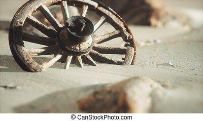 sable, bois, grand, roue