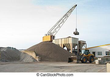 sable, chargement, excavateur