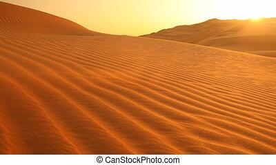sable, coucher soleil, boucle, souffler, dunes