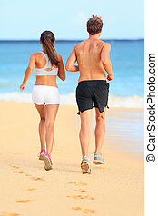 sable, couple, jogging, jeune, courant, fitness, plage