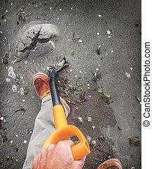 sable, creuser, mouillé